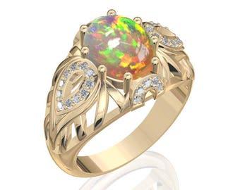 10x8mm Australian Black Opal Ring w/ 0.17ct Diamond in 14K or 18K Gold 1.92TCW Sku: R2422
