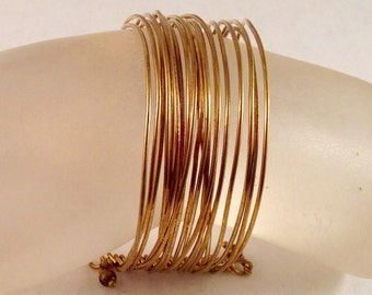 Wide Stacked Brass Bangle Bracelet 1 Inch Wide Fits a Wrist of 7 Inches and Under Previously Forty Five Dollars ON SALE
