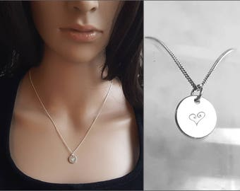 Delicate Heart Necklace, 925 Sterling Silver Pendant Necklace, Design Heart, Engraved Tag Charm, Short Necklace