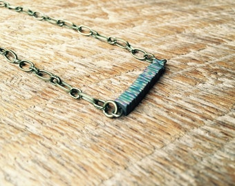 Indie Industrial Rainbow Metal Bead Bar Necklace