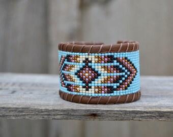 Native American inspired handmade Beaded Bracelet . Leather . Antique Button .  South Western  . Czech Glass  Handmade .