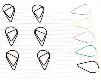 10 Black Paper Clips   Teardrop Paperclips   Planner Journal Scrapbook Paper Clasp   Folder Accessories School Office Stationery Supply