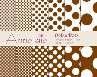 Digital Paper Pack: Chocolate Brown and White Polka Dots Scrapbook Paper Instant Download Commercial Use 086