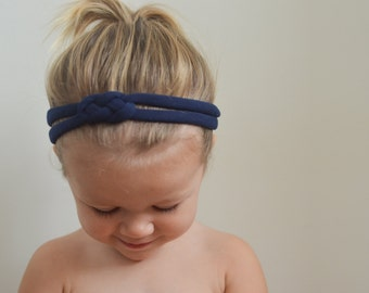 Navy Blue Sailor Knot Headband - Soft Cotton Jersey Knit Handmade Headband - Great for Baby, Infant, Toddler, or Child!