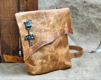 Slouchy Leather Satchel - Pirate Bag - Steampunk Leather Messenger Bag - Distressed Leather Purse with Antique Key