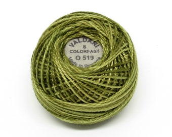 Valdani Pearl Cotton Thread Size 12 Variegated: #O519 Green Olives