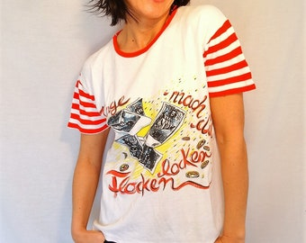 Distressed t-shirt red striped t-shirt 80s womens tee striped tshirt cotton stretch top vintage 80s size Medium