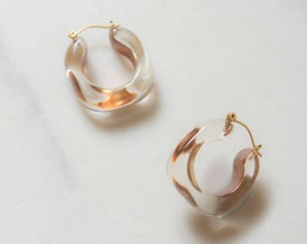 Lucite Earrings / 14k Gold / Hoop Earrings / Lucite Jewelry / Koahwyma Earrings