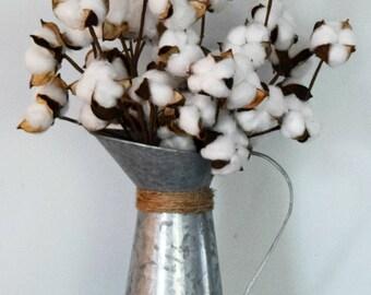Rustic Farmhouse Cotton Arrangement in Galvanized Pitcher