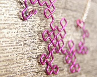 Dragon Curve Fractal Necklace - Amethyst