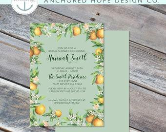 Citrus Bridal Shower Invitation- 5x7 - Lemons - Oranges - Anthropology - Greenery - Digital Printable File - Cardstock