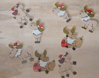 Christmas: set of eight perky reindeer