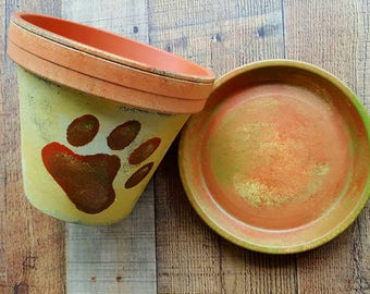 Paw Print Art - Painted Flower Pot - Pet Sympathy Gift - Pet Lover Gift - Dog Lover Gift - Cat Lover Gift
