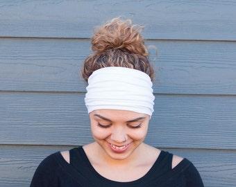 Wide yoga headband, White women's headband, running headband, workout headband, women's headband, stretch jersey headband, boho headband