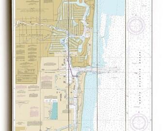 FL: Fort Lauderdale, Port Everglades, FL Nautical Chart Sign, Map Sign