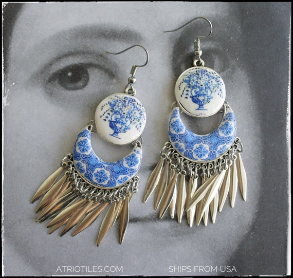 Earrings Portugal  Tile ATRIO Chandelier Dangle Fringe Azulejo  - Church of Mercy Evora Blue Travel History Flowers Frieze Ships from USA