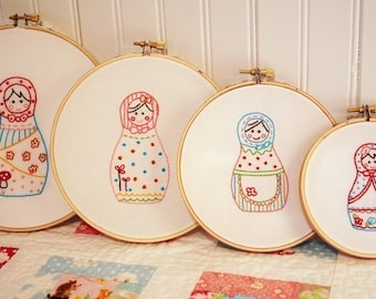 Russian Dolls Embroidery PATTERN - Set of 4
