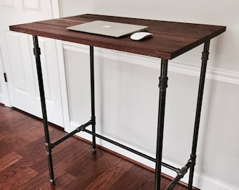 "The ""Wesley"" Desk - Standing Desk / Seated Desk - Reclaimed Wood & Pipe"