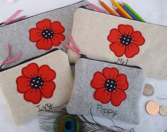 Handmade Personalised Purse Pouch Wallet or Pencil Case, Red Poppy Applique Choice of fabric & name polka dot print lining Mother's Day Gift
