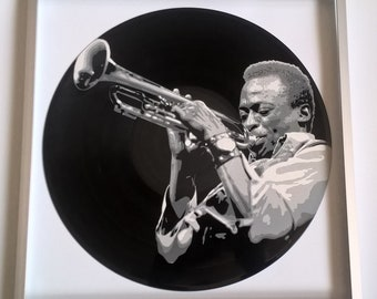 Miles Davis painted on Vinyl Record - Framed and ready to hang