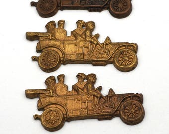 3 pcs vintage brass car stampings, convertible heavy struck 40mm