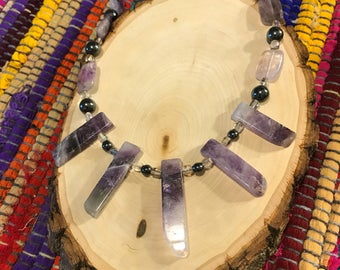 Hematite and Amethyst Beaded Necklace