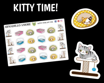 313 | Kitty Time Stickers {24 Fancy Matte or Glossy Planner Stickers}