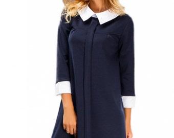 Dark blue dress / Peter Pan collar / Autumn dress Winter dress / Office dark blue dress / white cuffs collar / Contrast dress / knee dress