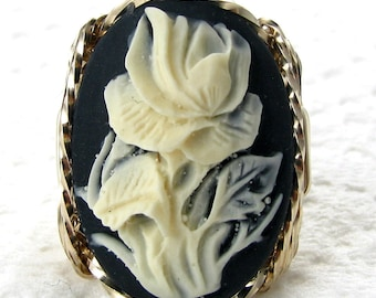 Cream Rose Cameo Ring 14K Rolled Gold Custom Jewelry