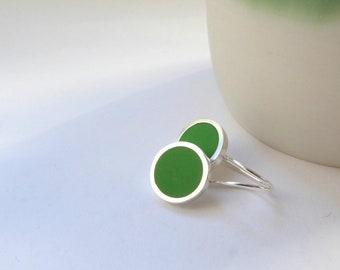 Leaf Green Round Earrings -  Emerald Drop Earrings - Green Jewellery - Birthday Gift for a Friend - Pop Drop Earrings