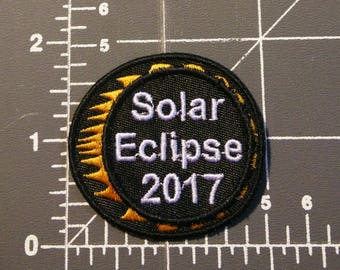 2017 Solar Eclipse Patch / w/iron-on backing / embroidery / FREE SHIPPING TO U.S.