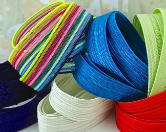 Stretch Ribbon Elastic Fold Over  For Hair ties Headbands Multi-Sets Rainbow multi-colored stripe, green, blue, red & white