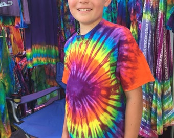 Youth or Toddler Bright Rainbow Burst Tiedyed Kid Tshirt