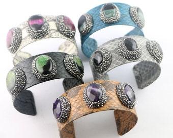 Fashion New 3Pcs Pave Rhinestone Natural Stone Snakeskin Leather Cuff Bangles Charm Druzy Jewelry Bracelets