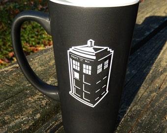 Large Black Personalized Doctor Who Tardis Mug, Dr. Who Mug, Dr. Who, Tardis, Custom Coffee Mug, Personalized Mug, Coffee Mug, Mug [CS036A]