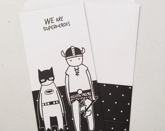 Superheroes Envelope, Scandinavian Favour Paper Bags, Party Bags, Gift Bags, Fun Treat Bags, Wedding Favour Bags - Set Of 5