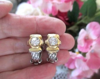 Spotlight Earrings * Gold And Silver Tone With A White Crystal * Classic Vintage * Clip On Style