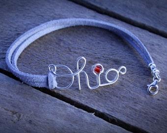 Sterling SCRIPT OHIO Bracelet, Script Ohio Jewelry, OSU bracelet, Ohio State Bracelet, Unique Ohio State Jewelry, Ohio State Buckeye Jewelry