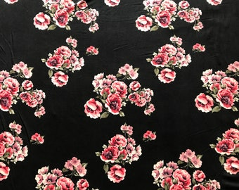 Black and Rose Double Brushed Poly Floral Print By The Yard 60'