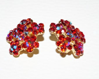 Vintage 60's Aurora Borealis Ear-Clips Red