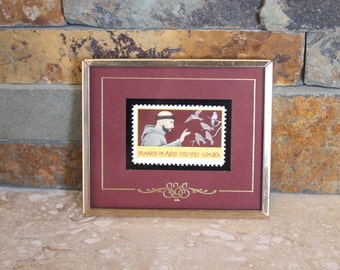 Stamps & Stories Francis of Assisi framed postage stamp, 1982 postage stamp, Texas Stamps framed postage stamp, mint condition stamp
