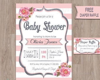 Pink Gray Baby Shower Invitations, pink baby shower invitation, baby shower pink and grey, Baby Shower invitation girl, Girl, printable