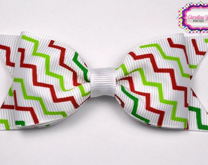 """Christmas Zig Zag Tuxedo Bow  ~ 3.5"""" Hairbow ~ Small Hair Bow ~ Girls Barrette ~ Toddler Bow ~ Baby Hair Bow ~ Hair Clip ~ Girls Hair Bow"""
