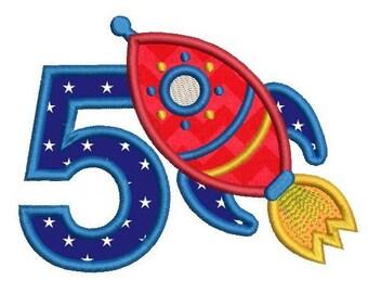 5th Birthday Applique Machine Embroidery Design, Rocket Applique, Boy's Fifth Birthday, Rocket Ship, 3 Sizes, Instant Download, No: SA510-46