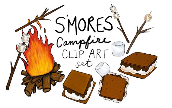 hand drawn s mores clip art set digitally drawn clip art smores rh etsystudio com smores campfire clipart s'more clipart