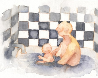 Mother and Baby in the Bath Print