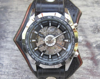 Leather Watch, Men's Watch, Steampunk Watch, Black Watch