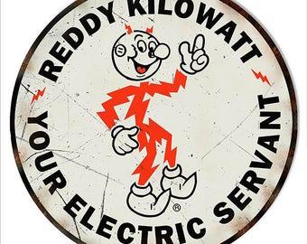 "Reddy Kilowatt Electric Vintage Looking Nostalgic Metal Sign 14""x 14"" Round 24g Steel RG7455"