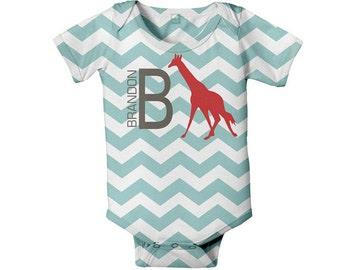 Baby Boy Chevron Bodysuit, Personalized Red Giraffe One Piece Snapsuit, Custom Onepiece Baby Clothing