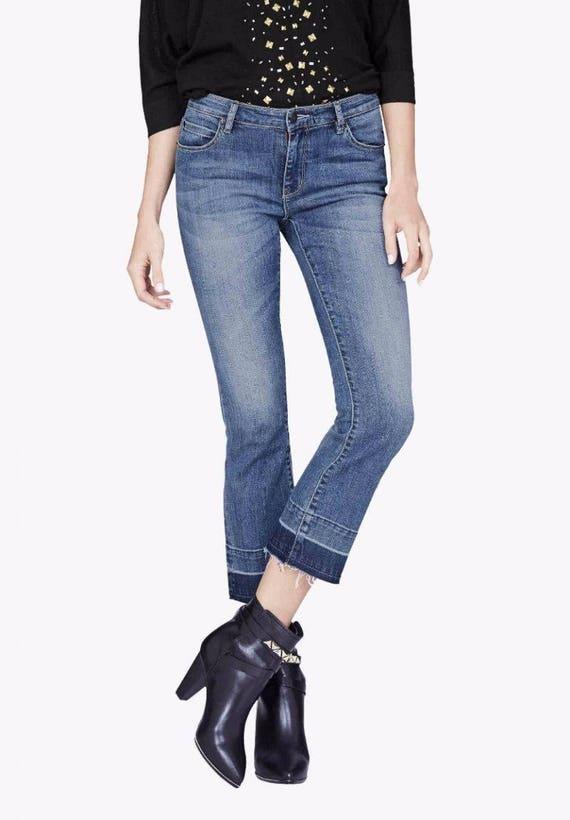 BNWT Sass & Bide retro cropped flared INKED ROSE denim jeans size 26